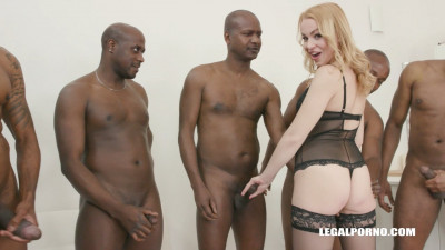 Rebecca Sharon goes balls deep double anal with 8 black guys
