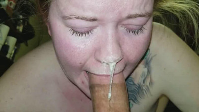 Uber snotty sloppy POV throatpie