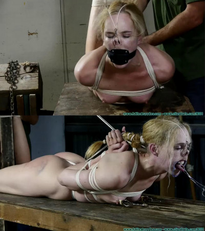 Tight bondage, torture and hogtie for sexy naked slave girl