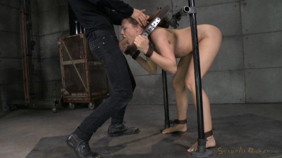 Chanel Preston stuck in stocks and worked over by 2 cocks