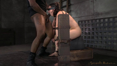 Cute little Amy Faye belted down onto sybian and does epic deepthroat until she is a drooling mess!