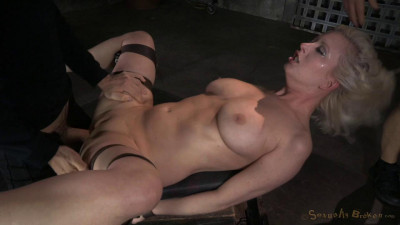 Basty blond Cheerry Torn bound and roughly fucked by 3 cocks with brutal messy depthroat!