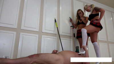 Goddess Nina Elle & Princess Chanel School Girls Bully Janitor