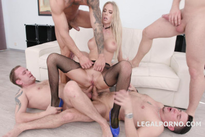 Hot Blond Florane Russell Gangbanged & Double Fucked