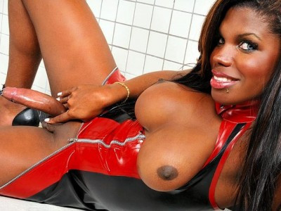 Huge Cock Latex Clad Black Shemale Teases