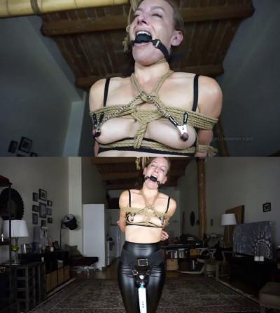 Super bondage, strappado and torture for sexy slavegirl