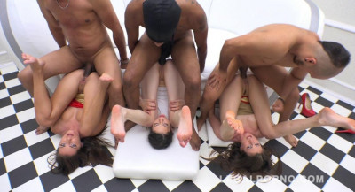 Rough double fuck orgy with 3 guys & best anal sluts