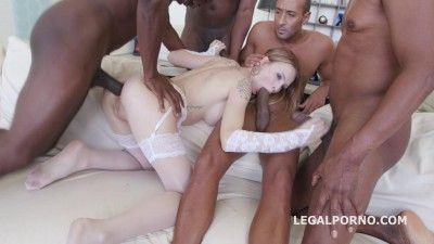Black Busters Destroy Belle Claire In Interracial Gangbang
