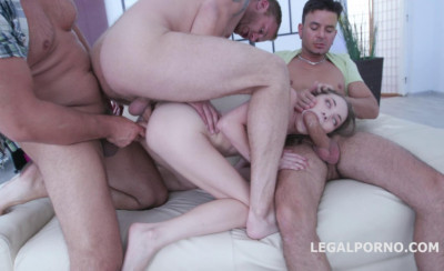 Monster 5on1 Anal Gangbang With DP For Skinny Babe