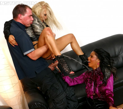 Description Fully Clothed Naughty Girls Both Take Their Turn Riding That Cock