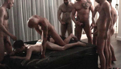 London Gangbang With Many Uncut Dicks