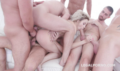 6on1 double anal orgy with facial
