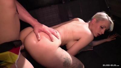 Sultry German blonde eats cum in hot public bus fuck