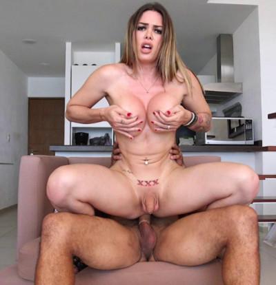 Pretty Big Tits Tranny Fucked By Huge Cock
