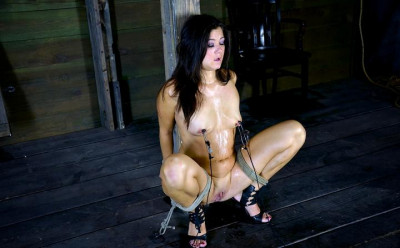 Hot half Asian MILF is bound against a beam, brutally skull fucked, made to cum! CeCe