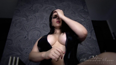 busty goddess in black leather teasing herself