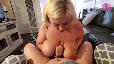 Bbw milf drains big dick between boobs and got cum