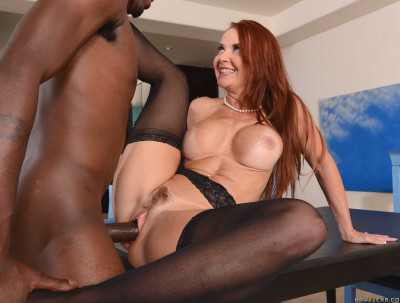 Redhead Busty Milf Fucks On The Kitchen Table
