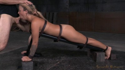 Pretty blonde Madelyn Monroe bound face down ass up roughly fucked deepthroat! (2015)