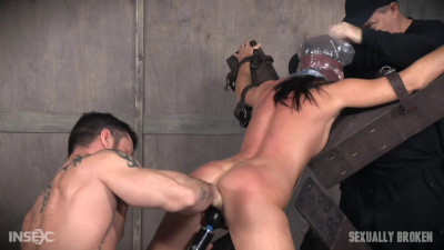 Hot milf India summer's is strapped to and 'X' frame, hooded, gagged, and brutally fucked!