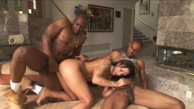 Description Mya Nichole plays with couple of BBCs