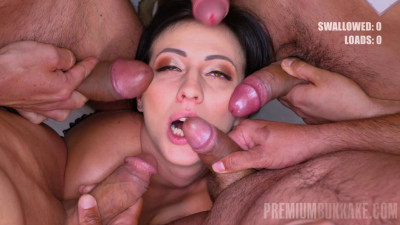 Russian Babe Sherry Enjoys Blowbang With Many Sperm