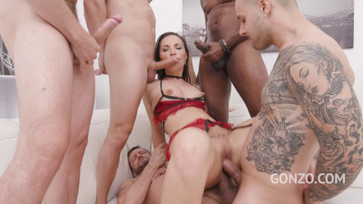 Submissive slut Kristy pissed all over and double anal