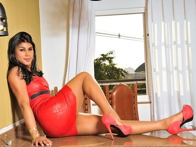 Laiane Brandao Masturbates In Red Latex