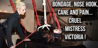 Bondage, Nose Hook, Cane And Pain ... Cruel Mistress Victoria