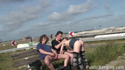 The girl does blowjob two guys on the bench
