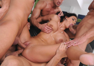 Playful Hottie Gets Fucked Hard by Four Dudes