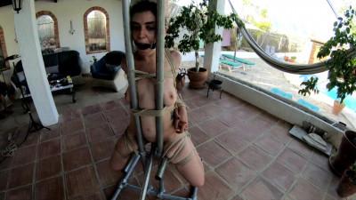 Description LittleRedGirl On The Metal Chair - HD 720p