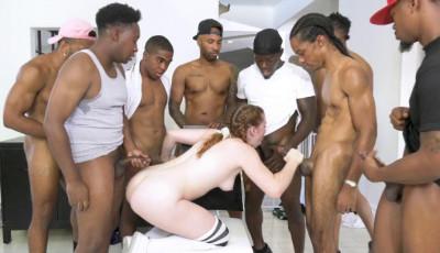 White Slut Arietta Adams GangBanged By Big Black Cocks