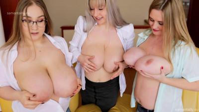 Horny busty russian chicks sucking tits at sofa