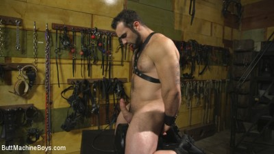 House dom takes his first machine deep in his hairy hole!