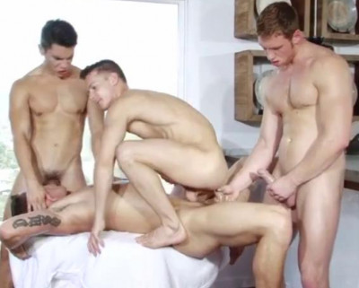 Wild cluster sex through young nude studs