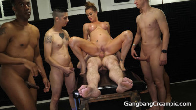 Brunette Slut Ava Darling GangBanged With 5 Creampies