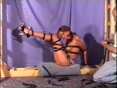 She's Bound To The Ceiling While In Bikini And While Her Mouth Is Covered With Cloth