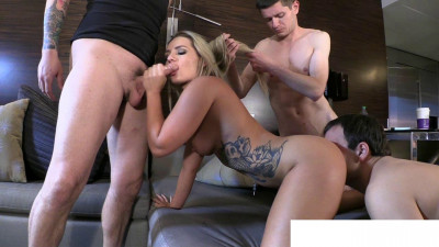 Fucked by Stud with Two Chastity Cucks Serving (cum, wives, watch, car)
