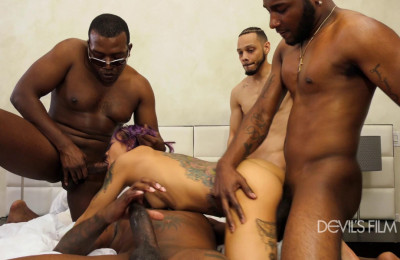Interracial gang-bang challenge for amazing Marica Hase