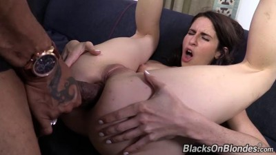 Huge black dick in skinny white ass ...