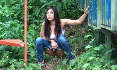 Smoking and Peeing - outside, woman, piss