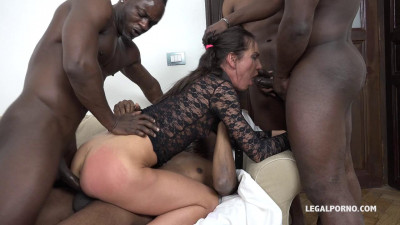 Nataly Gold watch and see how four black guys destroy her ass (2017)