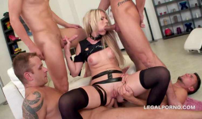 Description Blond bitch in brutal orgy with many cocks