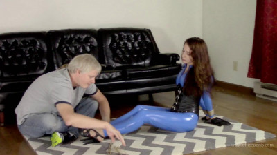 Nichole Skye – Blue Catsuit and Tight Jute Hairtie/Hogtie