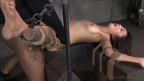 Little Asian slut Marica Hase roughly fucked in strict bondage, cums hard and fast! (2014)