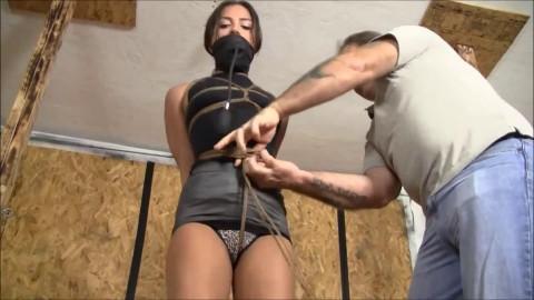 Super bondage, domination and hogtie for very hot brunette