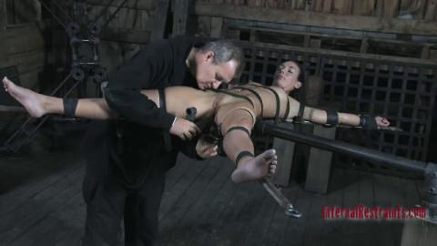 Hard restraint bondage and castigation for very slutty dark brown part 1 HD 1080p