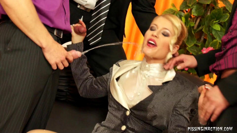 She Takes On Four Guys In The Hardcore Piss Gangbang Action