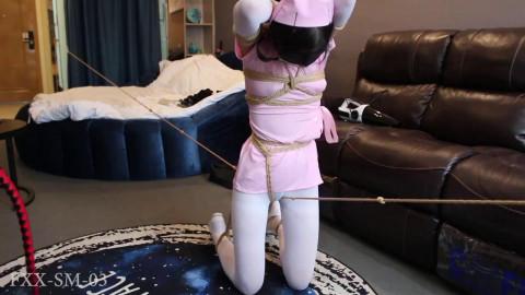 Tight tying, spanking and pain for hawt slavegirl